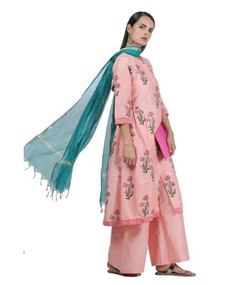 Peach Embroidered Cotton Readymade Suits