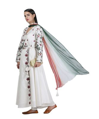 White Embroidered Georgette Readymade Suits