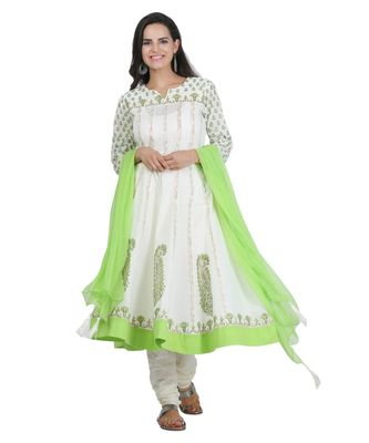 White Embroidered Cotton Readymade Suits