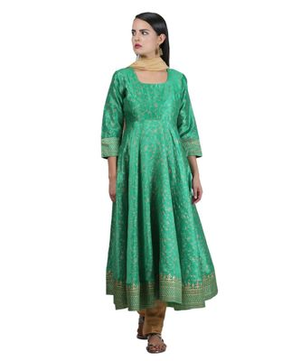 Green Embroidered Dupion Readymade Suits