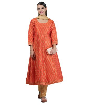 Orange Embroidered Dupion Readymade Suits