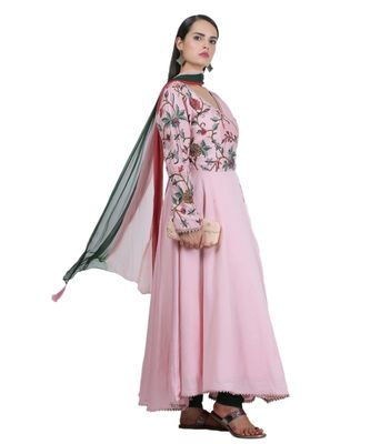 Pink Embroidered Cotton Readymade Suits