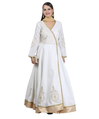 White Embroidered Dupion Readymade Suits