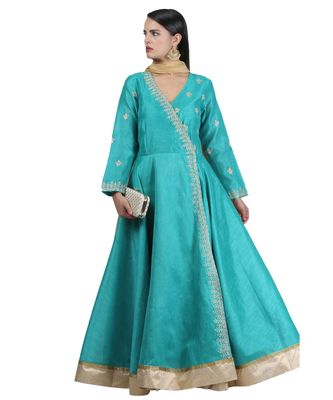 Blue Embroidered Dupion Readymade Suits
