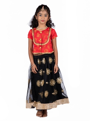Red & Black Embroidered Net Lehenga With Brocade Top