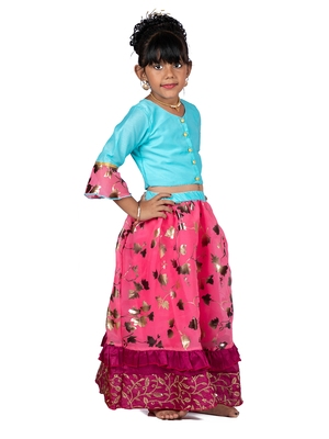 Blue & Pink Organza Lehenga And Buttoned Top Set
