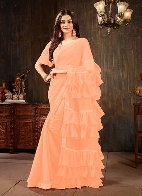 Peach plain georgette ruffle saree with blouse