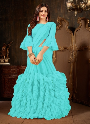 sky blue plain georgette ruffle saree with blouse