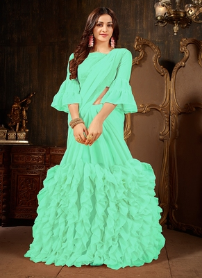 sea green plain georgette ruffle saree with blouse
