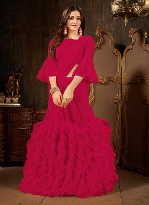 rani pink plain georgette ruffle saree with blouse