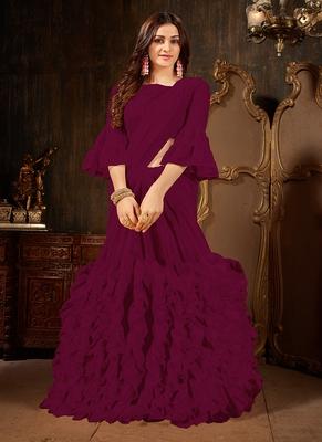 dark magenta plain georgette ruffle saree with blouse