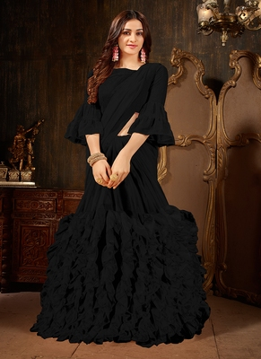 Black plain georgette ruffle saree with blouse