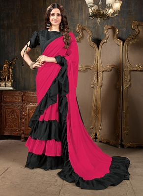 Pink plain georgette ruffle saree with blouse