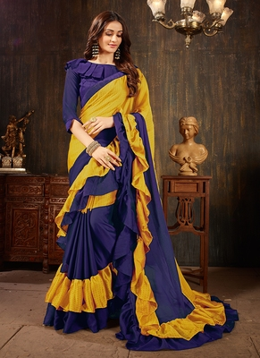 multicolor plain georgette ruffle saree with blouse