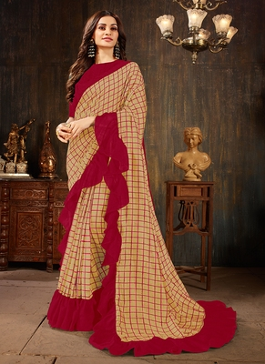Beige printed georgette ruffle saree with blouse