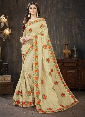 Beige embroidered art silk blend saree with blouse