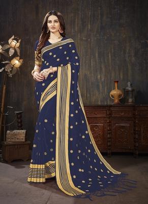 dark blue embroidered art silk blend saree with blouse