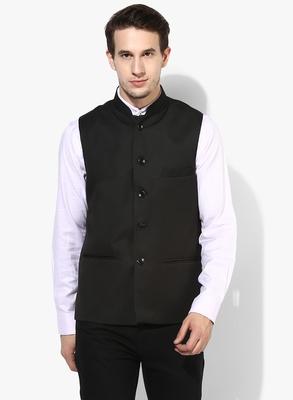 Black Plain Cotton Nehru Jacket