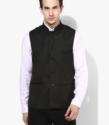 Black Plain Cotton Nehru Jacket