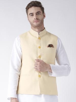 Yellow Plain Linen Nehru Jacket