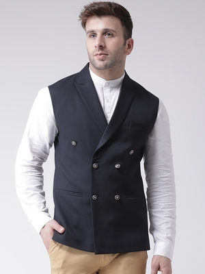 blue plain cotton nehru jacket