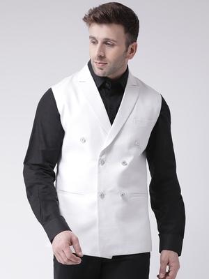 White plain cotton nehru jacket