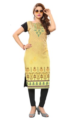 Yellow Color Heavy American Crepe  Stitched Kurti