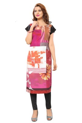 Multi Color Heavy American Crepe  Stitched Kurti