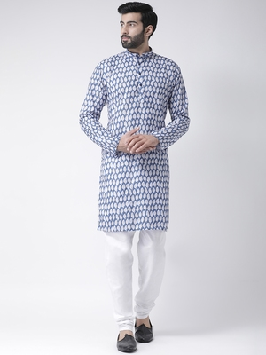 Blue Printed Cotton Stitched Kurta Pajama