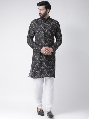 Black Printed Cotton Stitched Kurta Pajama