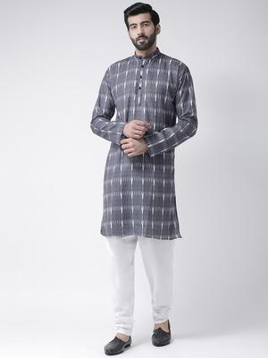 Blue printed Cotton stitched kurta pajama