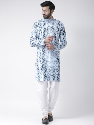 White Printed Cotton Stitched Kurta Pajama