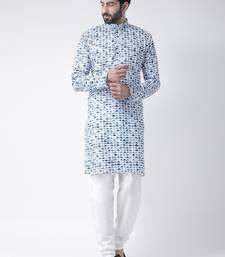 White printed Cotton stitched kurta pajama