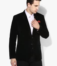 Black plain Velvet stitched men-blazers