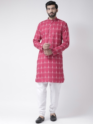 Pink Printed Cotton Stitched Kurta Pajama