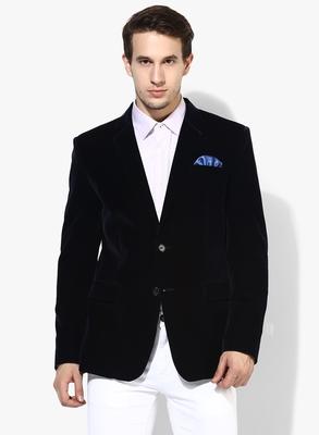 Blue Plain Velvet Stitched Men Blazers