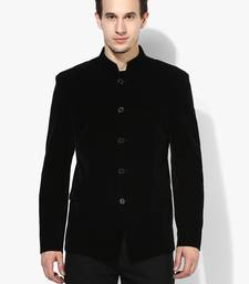 Black Plain Velvet Stitched Men Blazers