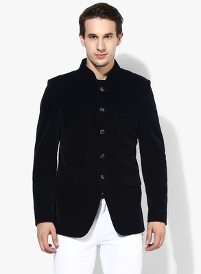 Blue Plain Velvet Stitched Men Blazers