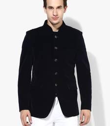 blue plain Velvet stitched men-blazers