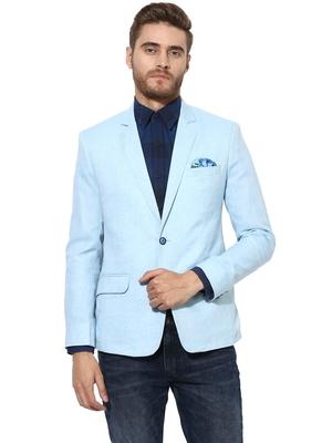 Blue Plain Linen Stitched Men Blazers