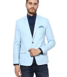 Blue plain Linen stitched men-blazers