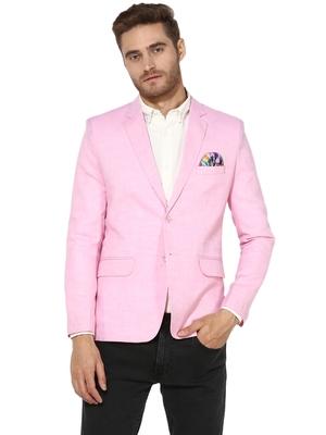 Pink Plain Linen Stitched Men Blazers