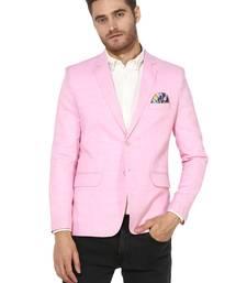 Pink plain Linen stitched men-blazers
