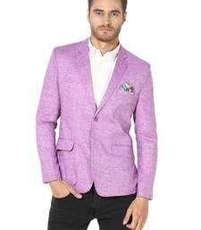 Purple plain Linen stitched men-blazers