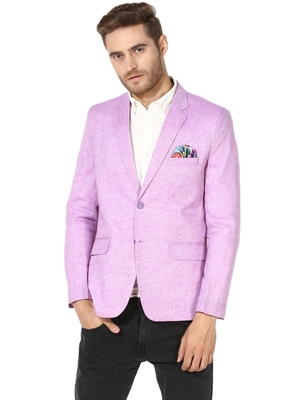 Purple Plain Linen Stitched Men Blazers