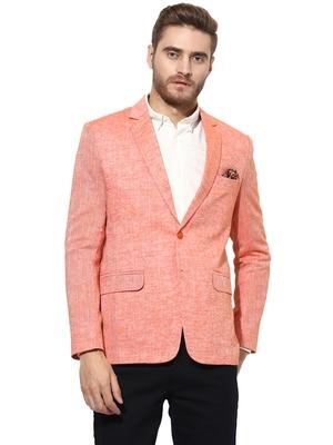 Orange Plain Linen Stitched Men Blazers