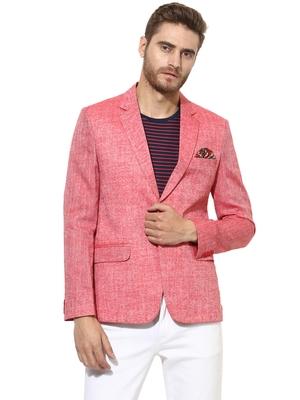 Red Plain Linen Stitched Men Blazers