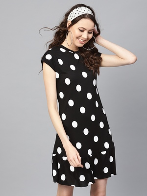 Black & White Polka Frill Hem Dress