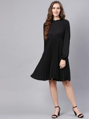 Black Mandrain Collar Pleated Skater Dress