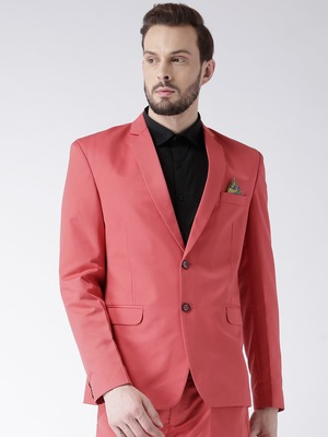 Red Plain Viscose Stitched Men Blazers